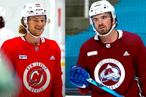Dawson Mercer (left) made the New Jersey Devils straight out the junior ranks, while Alex Newhook (right), who is on the Colorado Avalanche's opening-day roster, also qualifies as an NHL rookie despite playing 14 regular-season and playoff games for the Avs last season. — File photos/Contributed