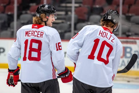 Dawson Mercer and Alex Holtz were forwards taken in the first round of the 2020 NHL Entry Draft by the New Jersey Devils, but while Holtz has been assigned to the AHL's Utica Devils, Mercer is starting the new season in New Jersey. — New Jersey Devils/Facebook