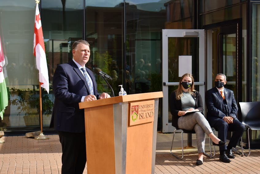 P.E.I. Premier Dennis King says the provincial government will contribute an estimated $129 million in investments over the next six years toward a new faculty of medicine at UPEI. UPEI student union president Samantha MacLean and Alaa Abd-El-Aziz, president and vice-chancellor of UPEI, listen to King.