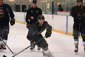 Nathan Noel (16) participates in a drill on the first day of the Newfoundland Growlers' training camp at the Glacier in Mount Pearl. — Keith Gosse/The Telegram