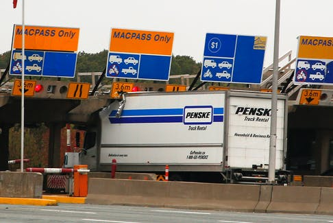 FOR NEWS STORY: A rental truck is seen after striking the tolls on the Mackay Bridge in Dartmouth Wednesday October 13, 2021.  TIM KROCHAK PHOTO