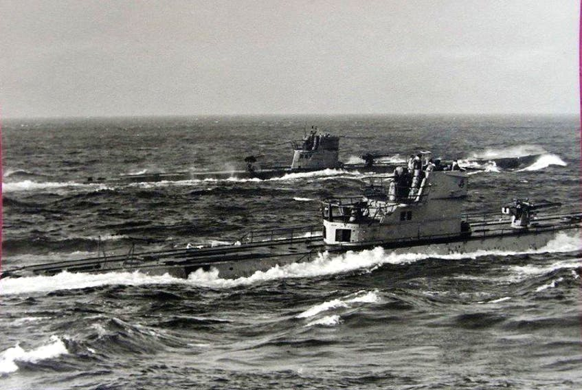 A 1943 photo of U-518 (the vessel in the foreground).
