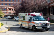 An ambulance leaves Regina General Hospital in Regina, Saskatchewan on Sept. 14, 2021.