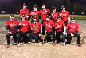 The Brookfield Elks repeated as Shooters Bar & Grill Fastball League champs with a 10-0 win over the Halifax Bandits Oct. 12 in Lantz to sweep the best-of-five final. Team members, front row, from left, are Jeremy Locke, Jay Duffy, Coby Crowell, Mike Wood, Trent MacKeil and Nolan Osborne. Second row, Patrick Stewart, Gerald Wall, Justin Schofield, Cam Euloth and Alex Rhoddy. Missing from photo were Brad MacKinnon and Jacob Bowers.