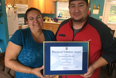 Gina and Leonard Marshall received the Provincial Volunteer Award recognizing the time and effort they put into sports and recreation programs in their community of Eskasoni. ARDELLE REYNOLDS • CAPE BRETON POST
