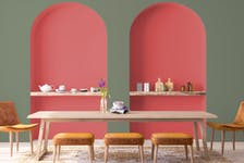 Dramatic wall colours are on the way for 2022. BeautiTone's Warm Hugs (pink-red) and Sanctuary (green).