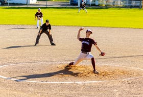 Jack MacKenzie delivers a pitch for the Holland Hurricanes against the Dalhousie Tigers in an Atlantic Collegiate Baseball Association (ACBA) game at Legends Field in Summerside on Oct. 9. Darrell Theriault Photo