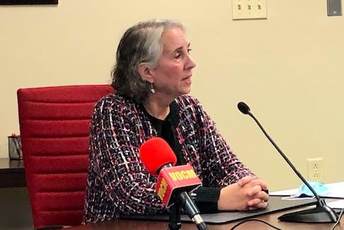 NLMA president Dr. Susan MacDonald speaks to reporters Thursday, Oct. 14 in St. John's.