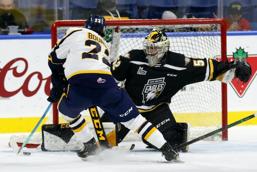 Shawinigan Cataractes player Mavrik Bourque breaks in on Eagles goaltender Nicolas Ruccia during Wednesday's Quebec Major Junior Hockey League game at Centre 200. The Cataractes scored a 3-2 overtime win in the game.   Mike Sullivan photo