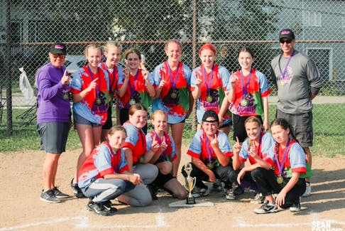 The Sydney Venom, sponsored by Cape Breton Gymnastics Academy, captured the under-12/14 division of the Sydney and Area Girls Softball League last month. Members of the team, in no particular order, are Kal Campbell, Carly MacLean, Karley Lawless, Maria Condon, Aurora O'Connell, Katie Cunningham, Ella Barry, Layla Desveaux, Kiera Brown, Cate MacAulay, Hailey Sophocieous-MacDonald and Vada Kennedy. The team coaches are Nya Kennedy and Donald Kennedy. CONTRIBUTED • NYA KENNEDY