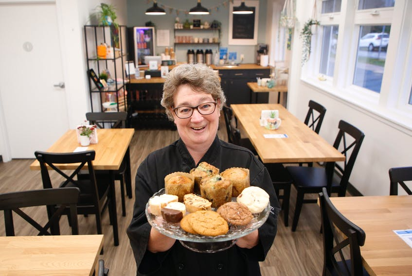 FOR RETALES:: Shelley St. Peters displays some of the baked goods, that she and her colleagues make and serve up at the North End Baking Co. and Cafe, in Halifax Thursday October 14, 2021. St. Peters told me she has worked here for 27 years.  TIM KROCHAK PHOTO