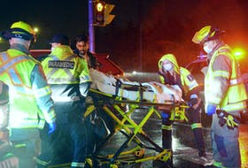 A pedestrian was taken to hospital after he was struck by a vehicle on a Mount Pearl crosswalk Thursday night.
