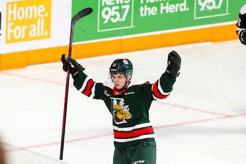 Halifax Mooseheads' Jordan Dumais celebrates his first goal of the game against the visiting Shawinigan Cataractes Friday night.