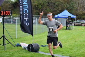 Scotsburn's Gillis Cox took first place in the Skyler Blackie Fit to be a Hero Race in Truro Saturday (Oct. 2) morning.