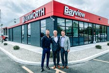 Mike Nagle Jr. (centre) is the president and CEO of Bayview Trucks & Equipment, and his two sons, Adam (right) and Christopher (left) are preparing for the day when they take over the family business.  PHOTO CREDIT: Contributed