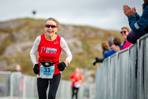 Florence Barron reaches the Signal Hill finish line of the 2019 Cape to Cabot. The 83-year-old Barron is entered in the race again this year. — Contributed/capetocabot.com
