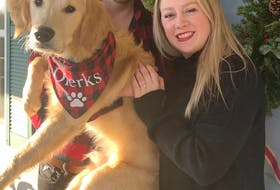 Petra Buis (right), with her fiancé Andrew Johnston and their dog Dierks. Buis is working with the Cape Breton Regional Hospital Foundation on a fundraising initiative she founded called Forget Me Not Packages.