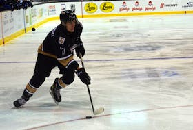 Charlottetown Islanders defenceman Oscar Plandowski controls the puck during a recent Quebec Major Junior Hockey League (QMJHL) game at Eastlink Centre. Plandowski, a draft pick of the Detroit Red Wings, is in his third season with the Islanders.
