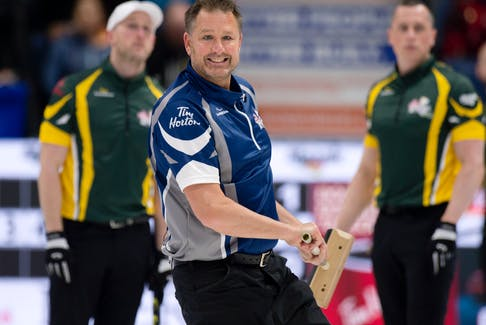 Paul Flemming watches a shot as the 2018 Tim Hortons Brier as a member of Nova Scotia's Jamie Murphy rink. Flemming has taken over the skips' reins from Murphy this year. Michael Burns/ Curling Canada