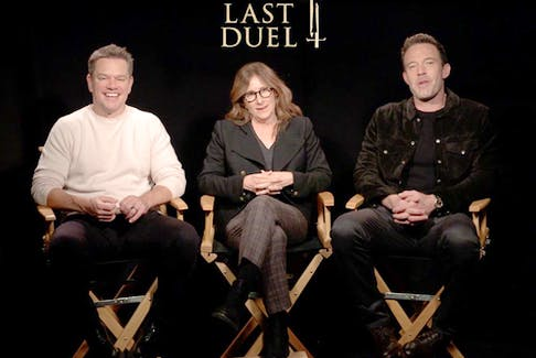 From left, Matt Damon, Nicole Holofcener and Ben Affleck.