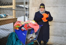 In this file photo from January 2020, Ken Paul, originally of Eskasoni, stands with all his belongings in a shopping cart in Sydney. Paul was experiencing homelessness and the shopping cart was the only thing he had to keep his worldly possessions in. CAPE BRETON POST/FILE PHOTO