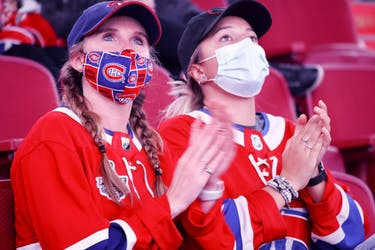 MONTREAL, QUE.: September 26, 2021 -- Saturday night's game against the New York Rangers will be the first one with a full crowd at the Bell Centre since March 10, 2020, when the Canadiens lost 4-2 to the Nashville Predators.