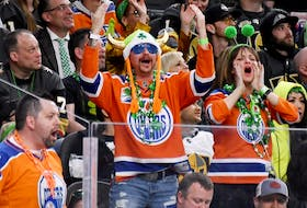 Edmonton Oilers fans react in the third period of the team's game against the Vegas Golden Knights at T-Mobile Arena on March 17, 2019 in Las Vegas, Nevada. The Golden Knights defeated the Oilers 6-3.
