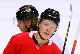 Brady Tkachuk was on the ice for practice Friday with his Ottawa Senators teammates at Canadian Tire Centre.
