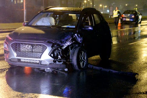 Two people were injured following a two-vehicle crash in the east end of St. John's Saturday night.