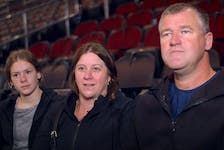 Members of Dawson Mercer's family, (from left) sister Jessica, mother Charlotte and father Craig, are interviewed by Amanda Stein prior to Mercer's first NHL game Friday night in Newark, N.J. — YouTube screengrab.New Jersey Devils