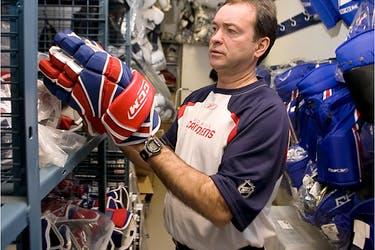 Equipment manager Pierre Gervais has a Stanley Cup ring from the Canadiens' last championship in 1993. He also worked as an equipment manager for Team Canada at four Olympic Games.