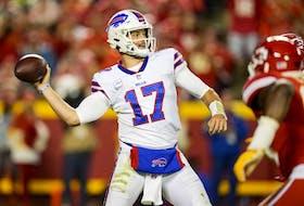 Buffalo Bills quarterback Josh Allen throws a pass against the Kansas City Chiefs.