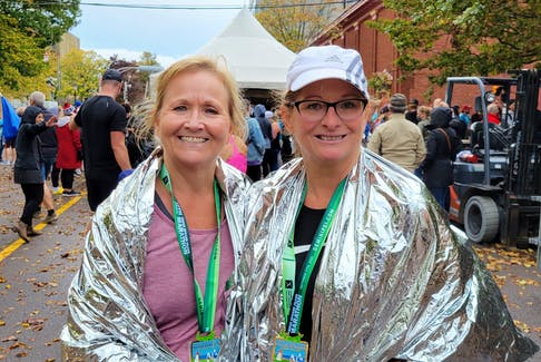 Maureen Panting, left, and Beverley Gordon both completed the half-marathon event at the P.E.I. Marathon on Saturday, Oct. 17 in Charlottetown.