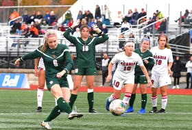 Rebecca Lambke's penalty kick in the 53rd minute pulled the Cape Breton Capers into a tie with the Acadia Axewomen in AUS women's soccer play in Sydney. CBU won the match 2-1 on a late goal by Abby McNeil. - CAPE BRETON UNIVERSITY ATHLETICS