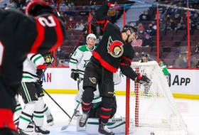 Chris Tierney #71 (not shown) of the Ottawa Senators scores on the Dallas Stars while his teammate Zach Sanford #13 celebrates during the second period at Canadian Tire Centre on Sunday.