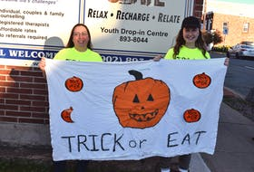 Slate Youth Centre director Crystal Crossan-Zak and Trick-or-Eat coordinator Ellie Deal are excited to bring back the event this year, collecting non-perishable food donations for the Colchester Food Bank and Souls Harbour Rescue Mission Truro.