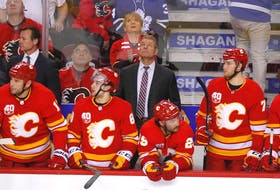 Geoff Ward wins his seventh straight game as the then-Calgary Flames interim head coach, against the Toronto Maple Leafs at the Scotiabank Saddledome in Calgary on Dec. 12, 2019.