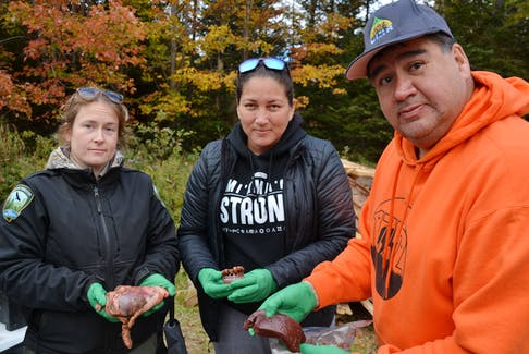 Parts of the moose hunters bring back can give researchers information about the general age and health of the moose population. Pictured from left are forestry technician Stephanie Gordon holding a moose heart, Carolyn Stevens from Mi'kmaq Rights Initiative with the jaw, and UINR's moose management coordinator Clifford Paul holding the liver. ARDELLE REYNOLDS/CAPE BRETON POST