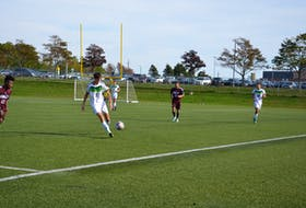 Kasper Lasia in action against the Saint Mary's Huskies earlier this season. Lasia scored two goals to help the UPEI Panthers to a 3-0 win over the Mount Allison Mounties in Atlantic University Sport men's soccer action in Sackville, N.B., on Oct. 16.