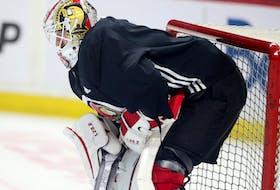 Senators goalie Matt Murray takes part in practice.