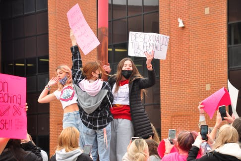 More than 200 students rallied together Oct. 19 led by Charlottetown Rural High School students against sexualization of female bodies.