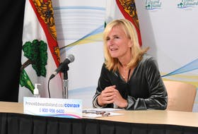 Chief public health officer Dr. Heather Morrison speaks to media at a COVID-19 briefing Tuesday, Oct. 19.