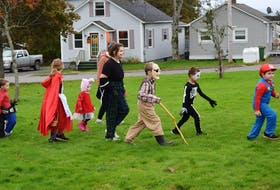 Rain held off long enough for children to take part in a costume parade.