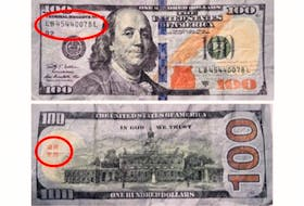 Counterfeit $100 U.S. bills reported circulating in Charlottetown have the serial number LB45440078L, have no hologram features and display four Chinese characters on the backside.