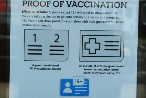 A Charlottetown restaurant displays a sign telling patrons they need to show proof of vaccination.