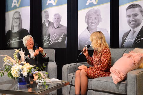 Annette Verschuren, left, chats with Cape Breton Regional Chamber of Commerce CEO Kathleen Yurchesyn during the official launch of the renowned businesswoman's new Bet On Me podcast that was officially launched during a noontime event at the Joan Harriss Cruise Pavilion on the Sydney waterfront. DAVID JALA/CAPE BRETON POST