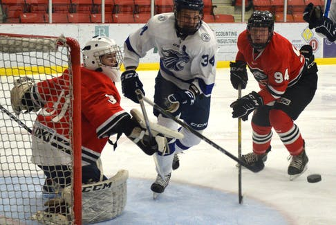 Alex Chenhall of the Sydney Academy Wildcats, centre, chases the loose puck as Glace Bay Panthers teammates Darian MacInnis, left, and Matthew Crane look on during Cape Breton High School Hockey League action at the Membertou Sport and Wellness Centre last season. The high school hockey league officially began on Tuesday with all four teams in action. JEREMY FRASER • CAPE BRETON POST