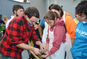 Dallas Sharpe, a teacher who learned to skin and tan animal hides from Eskasoni elder Ernest Johnson, shows Grade 12 student Ainsley Denny how to skin a muskrat as other students look on. ARDELLE REYNOLDS/CAPE BRETON POST