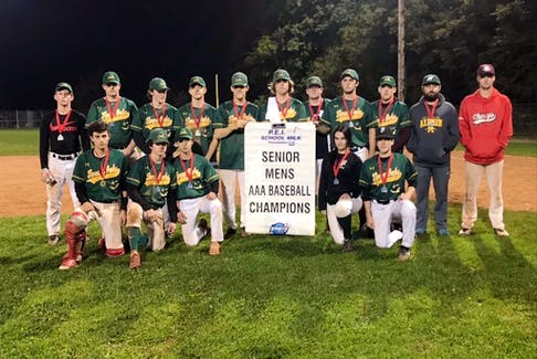 The Three Oaks Axemen captured the P.E.I. School Athletic Association senior baseball championship recently. The Axemen scored a 3-2 come-from-behind win over the Charlottetown Rural Raiders in the gold-medal game at Memorial Field in Charlottetown. Members of the Axemen are, front row, from left: Brayden Kirev, Hayden Ellis, MacKenzie DesRoche, Claire Keough and Mitchell Burns. Back row: Rankin Noye, Maddix Dekkur, Coleson Dodds, Owen Lynch, Kendall Burns, Evan MacDougall, Cody McCormack, Jacob Dunn, Riley Molyneaux, Kent Blenkhorn and Pete Keedwell.