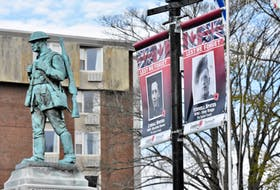 Some of the veterans banners that are being displayed near the cenotaph in the Town of Yarmouth. TINA COMEAU • TRICOUNTY VANGUARD